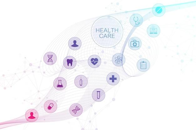 Fondo astratto medico con le icone di sanità. concetto di rete di tecnologia medica. linee e punti collegati, flusso d'onda, molecole, dna. sfondo medico per il tuo design. illustrazione vettoriale