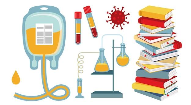 Analisi medica pila di libri illustrazione vettoriale piatta