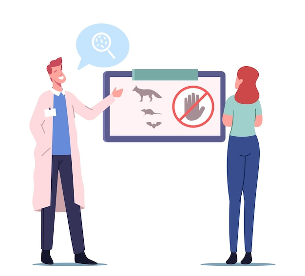 Consapevolezza medica dell'infezione da rabbia, personaggio medico maschio che presenta informazioni sugli animali portatori di infezione da rabbia che è pericoloso per la salute umana