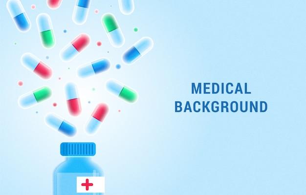Sfondo medico con pillole e bottiglia