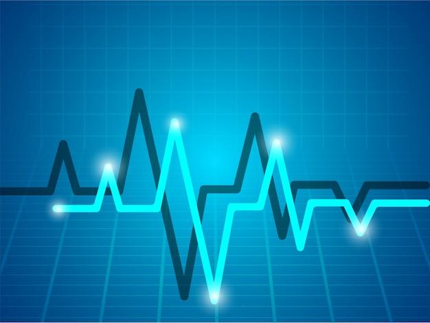 Sfondo medico con elettrocardiogramma blu cielo.