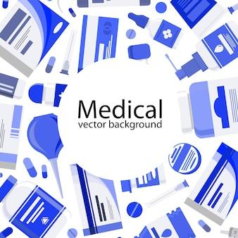 Illustrazione medica di concetto dell'insegna con la medicina le pillole le capsule le bottiglie le vitamine le compresse la droga