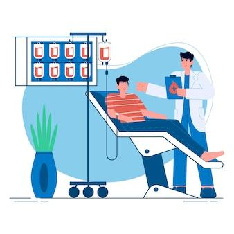 Illustrazione piana di donazione di sangue medica