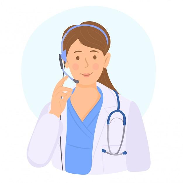 Operatore di call center medico al lavoro