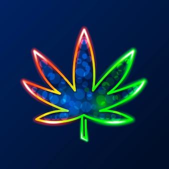 Logo di cannabis medica con foglia di marijuana incandescente luce al neon verde su sfondo scuro muro di mattoni - vector