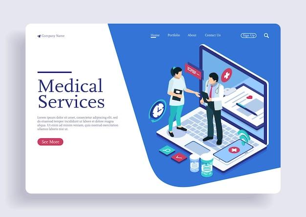Assistenza medica concetto isometrico di lavoro di squadra sanitario di medico e infermiere