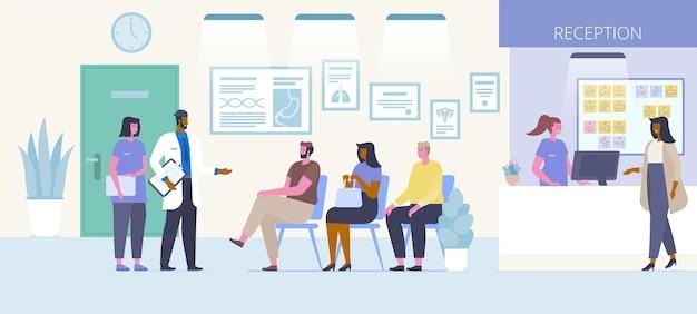 Illustrazione piana di vettore di ricezione del centro medico. uomini e donne che aspettano in fila, dottore che parla con i personaggi dei cartoni animati dei pazienti. interno della sala d'attesa dell'ospedale. concetto di sanità e medicina
