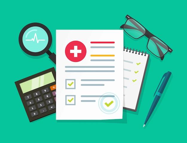 Lista di controllo medico o illustrazione di rapporto di ricerca di analisi della salute nella progettazione piana del fumetto
