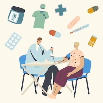 Check up medico, illustrazione del controllo della pressione arteriosa