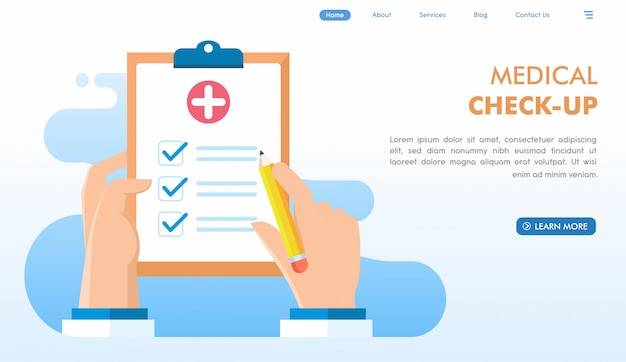 Pagina di destinazione del sito web di controllo medico