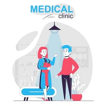 Concetto di cartone animato isolato clinica medica uomo alla reception terapista medico che parla paziente