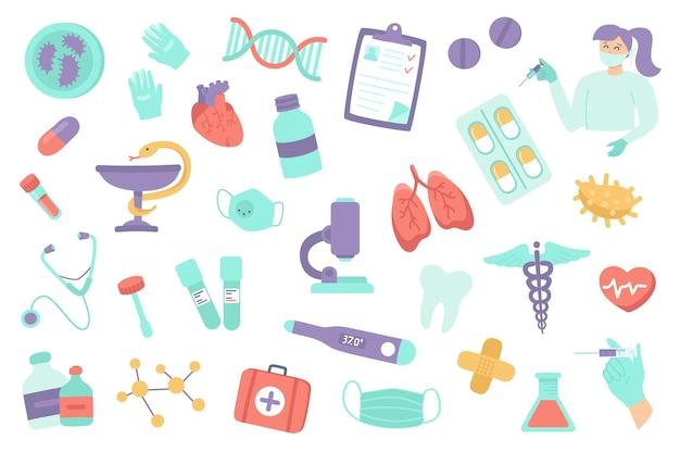 Set di oggetti isolati per clinica medica raccolta di farmaci per la vaccinazione cuore polmoni