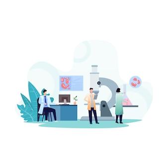Laboratori della clinica medica con camici da laboratorio e ricerche scientifiche