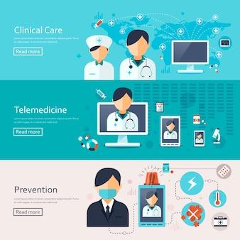 Banner di concetto medico impostato in design piatto