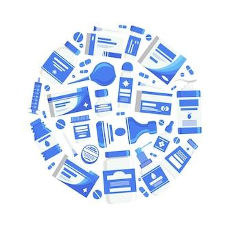Illustrazione di concetto medico con medicine pillole capsule bottiglie vitamine compresse farmaco antibiotico