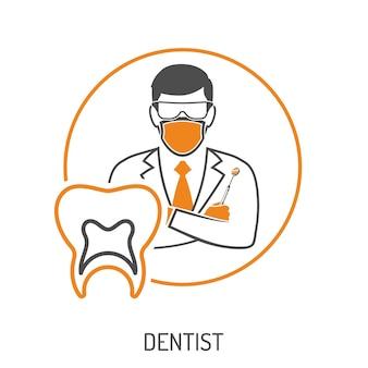 Concetto medico con carattere dentista, specchio dentale e dente. icone a due colori in stile piatto. illustrazione vettoriale isolato