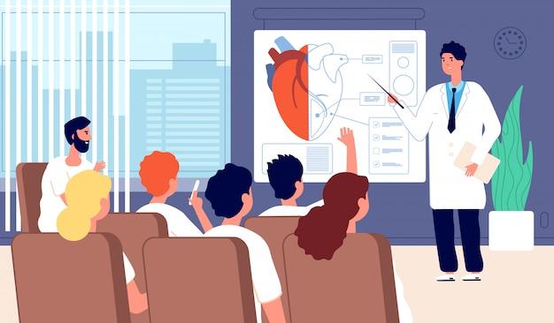 Conferenza medica. medico che mostra il cuore, formazione del medico. conferenza, seminario in classe per studenti. concetto di riunione di cardiochirurgia