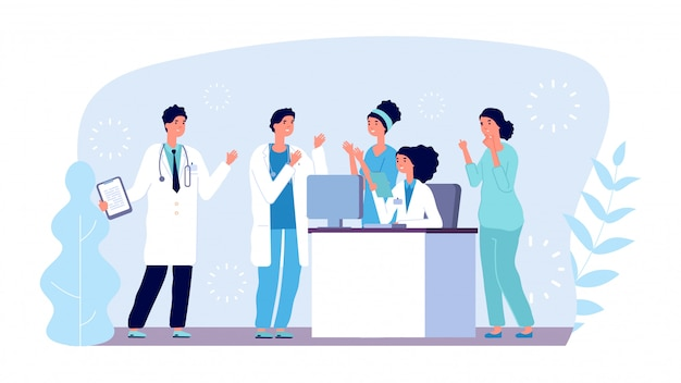 Concetto di consultazione medica. personaggi medici. squadra dell'ospedale, diagnostica, riunione medica