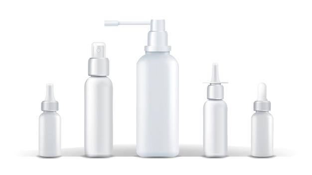 Contenitore medico vettoriale. spray naso che cola