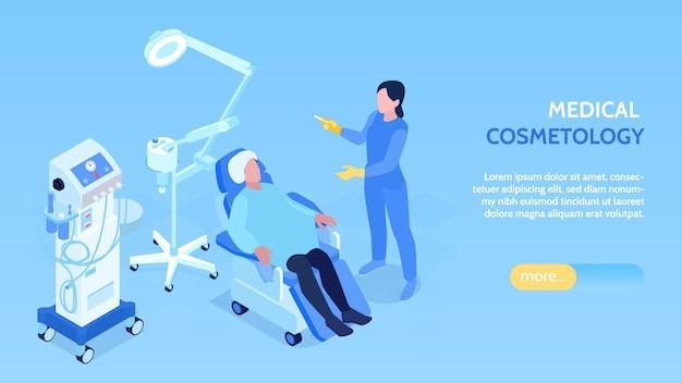 Banner isometrico orizzontale di cosmetologia medica