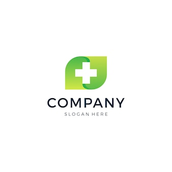 Logo medical cross leaf