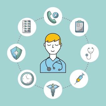 Assistenza medica stetoscopio medico