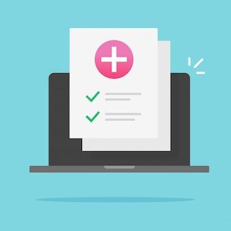 Lista di controllo sanitario del documento medico online sul computer portatile Vettore Premium