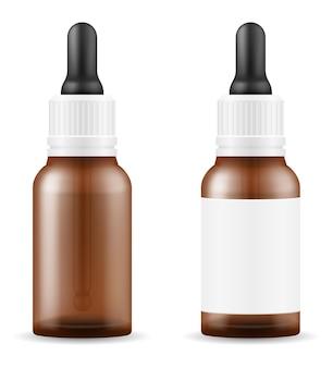 Gocce mediche in una bottiglia di vetro per il trattamento delle malattie modello vuoto