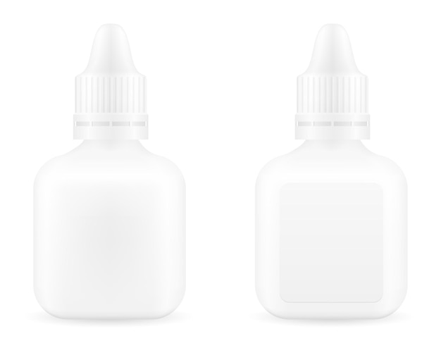 Gocce mediche in una bottiglia di plastica per il trattamento di malattie modello vuoto