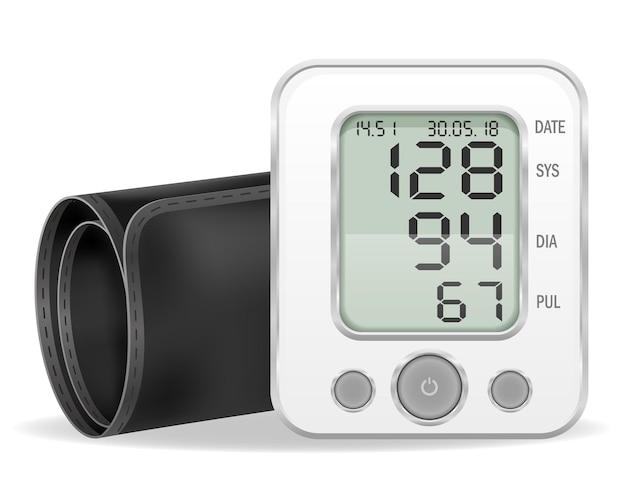 Illustrazione di riserva del tonometro elettronico medico isolato su priorità bassa bianca