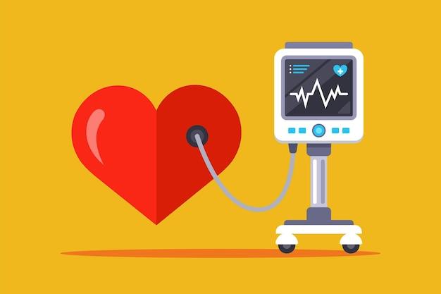 Apparecchiature mediche per la misurazione della frequenza cardiaca. illustrazione piatta