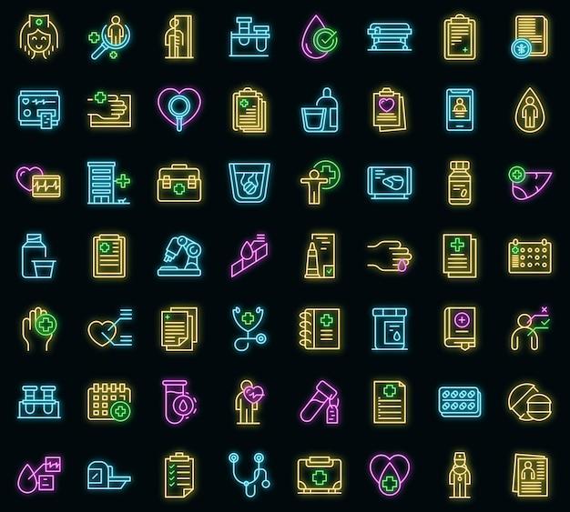 Icone di esame medico impostate vettore neon