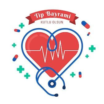 Illustrazione di festa medica con cuore e stetoscopio