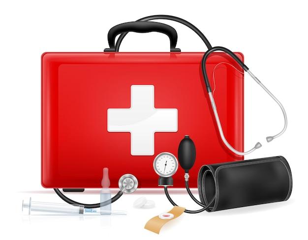 Illustrazione di riserva del kit di cassetta di pronto soccorso medico isolato su sfondo bianco