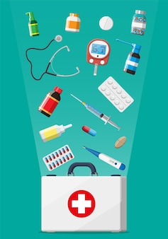 Kit di pronto soccorso medico con diverse pillole e dispositivi medici. strumenti medici, farmaci, stetoscopio, siringa, glucometro, termometro. diagnostica sanitaria. emergenza d'urgenza. illustrazione vettoriale piatta