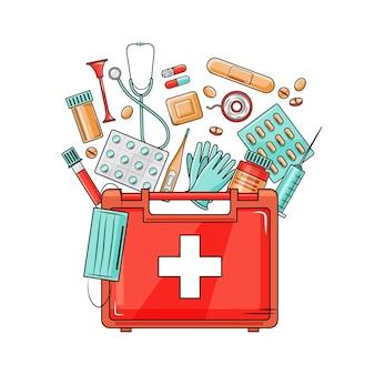 Kit di pronto soccorso medico con diverse pillole e termometro, assistenza sanitaria. illustrazione vettoriale in stile cartone animato