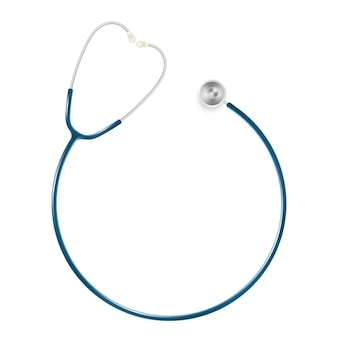 Concetto di sanità e medico, stetoscopio del medico isolato su fondo bianco.
