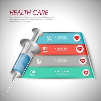 Modello infgraphic di assistenza sanitaria medica.
