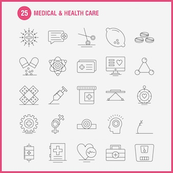 Insieme dell'icona di linea di assistenza sanitaria e medica