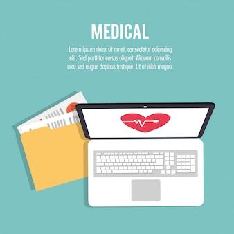 File di cartelle di tecnologia di assistenza sanitaria medica