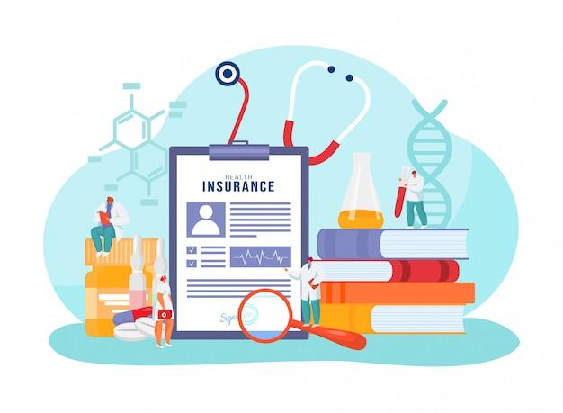 Assicurazione sanitaria medica, personaggio dei cartoni animati minuscolo medico in piedi con la grande politica del documento di forma di carta