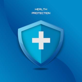 Grafica del logo per la protezione della salute medica per l'assicurazione ospedaliera e i servizi di assistenza di sicurezza di emergenza