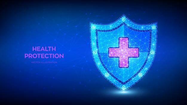 Scudo di protezione sanitaria medica con croce. concetto di assistenza sanitaria. scudo di guardia poligonale basso astratto.
