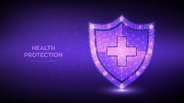 Scudo di protezione sanitaria medica con croce. la medicina sanitaria ha protetto il concetto di scudo di guardia poligonale basso astratto.