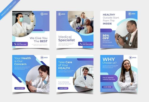 Modello di post sui social media medici e sanitari
