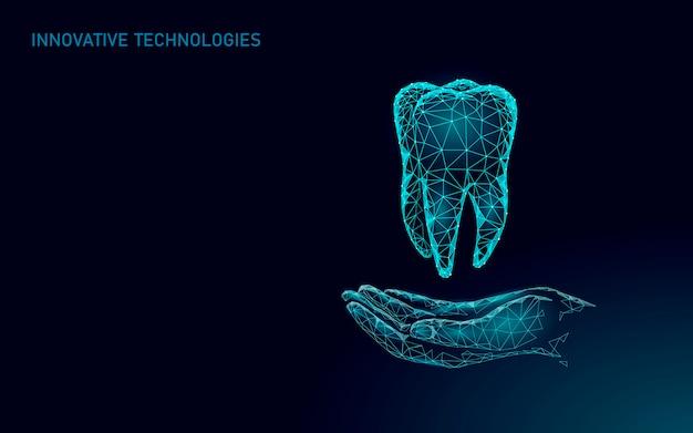 Dente umano sano medico 3d. modello di medicina low poly. concetto medico online. app di consulenza medica. illustrazione moderna di tecnologia dello stomatologo del dentista di sanità di web