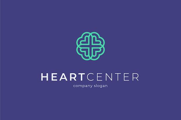 Modello di logo del centro medico del cuore