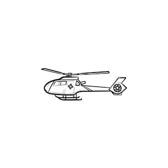 Icona di doodle di contorni disegnati a mano di elicottero medico. elicottero di evacuazione medica come concetto di servizio medico di emergenza