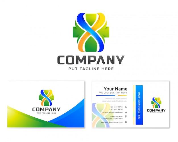 Modello di logo di ospedale medico per azienda con biglietto da visita