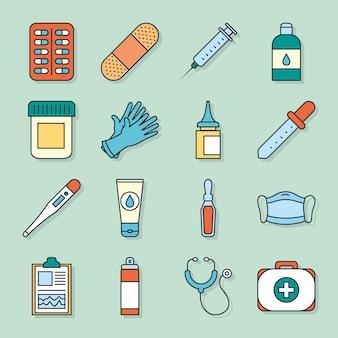 Collezione di icone mediche su sfondo verde